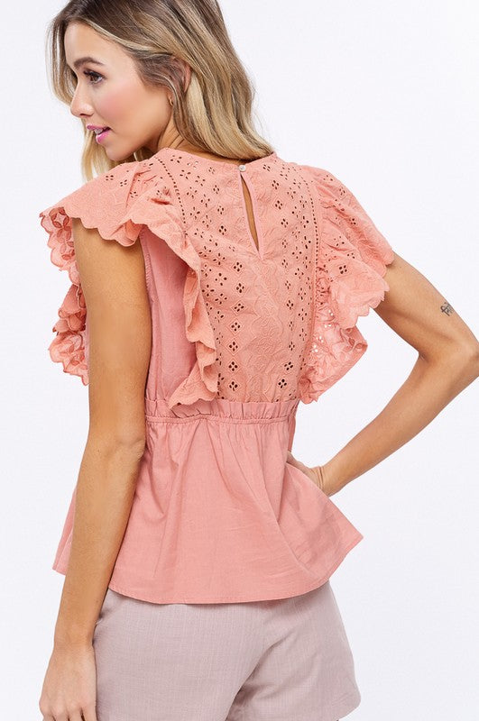 Embroidery Eyelet Ruffle Sleeves Top