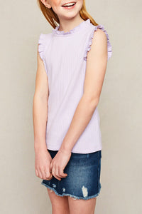 Ruffled Mock Neck Tank Top - Girls