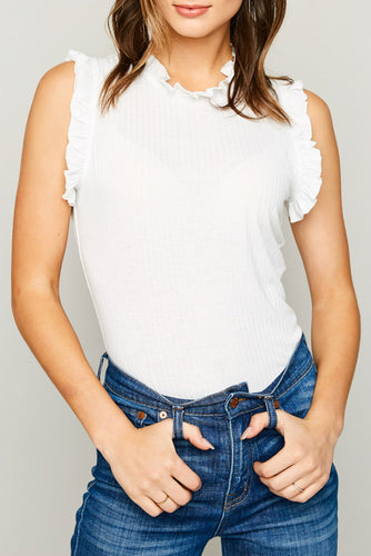 Ruffled Mock Neck Tank Top - Womens