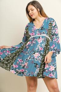 Babydoll Floral Print Dress (Plus)