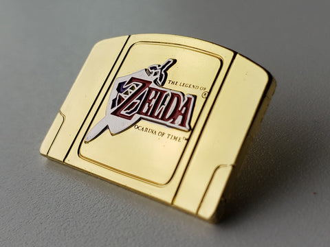 Legend of Zelda Ocarina of Time Gold Cartridge - Metal Collector Pin
