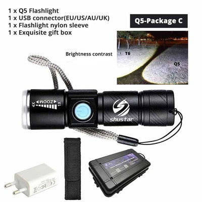 Small USB Led Tactical Brightest Flashlight