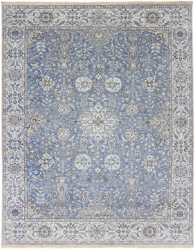 Nuit Arab Hand Knotted Rug - Nui-16 Petal Blue-White Ice