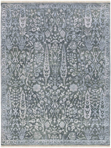 Rhapsody Hand Knotted Rug - Rhp-13 Water Blue-Snow White