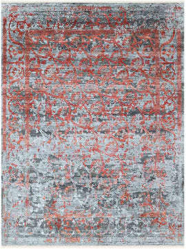 Rhapsody Hand Knotted Rug - Rhp-4 Slate-Chilly Red