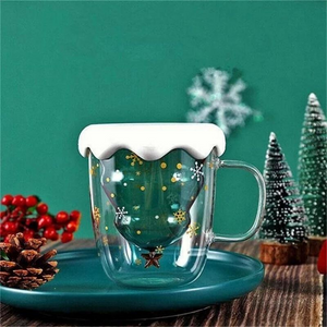 Christmas Tree Double Wall Glass Coffee Cup