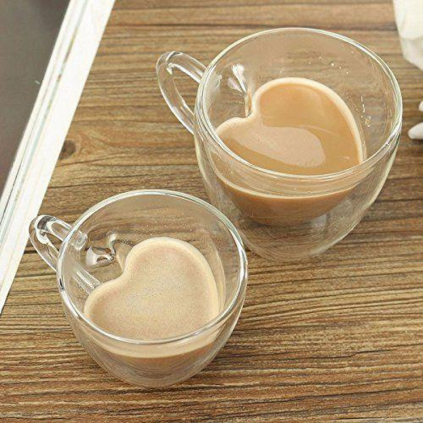 Heart Shaped Double Wall Glass Coffee Cup