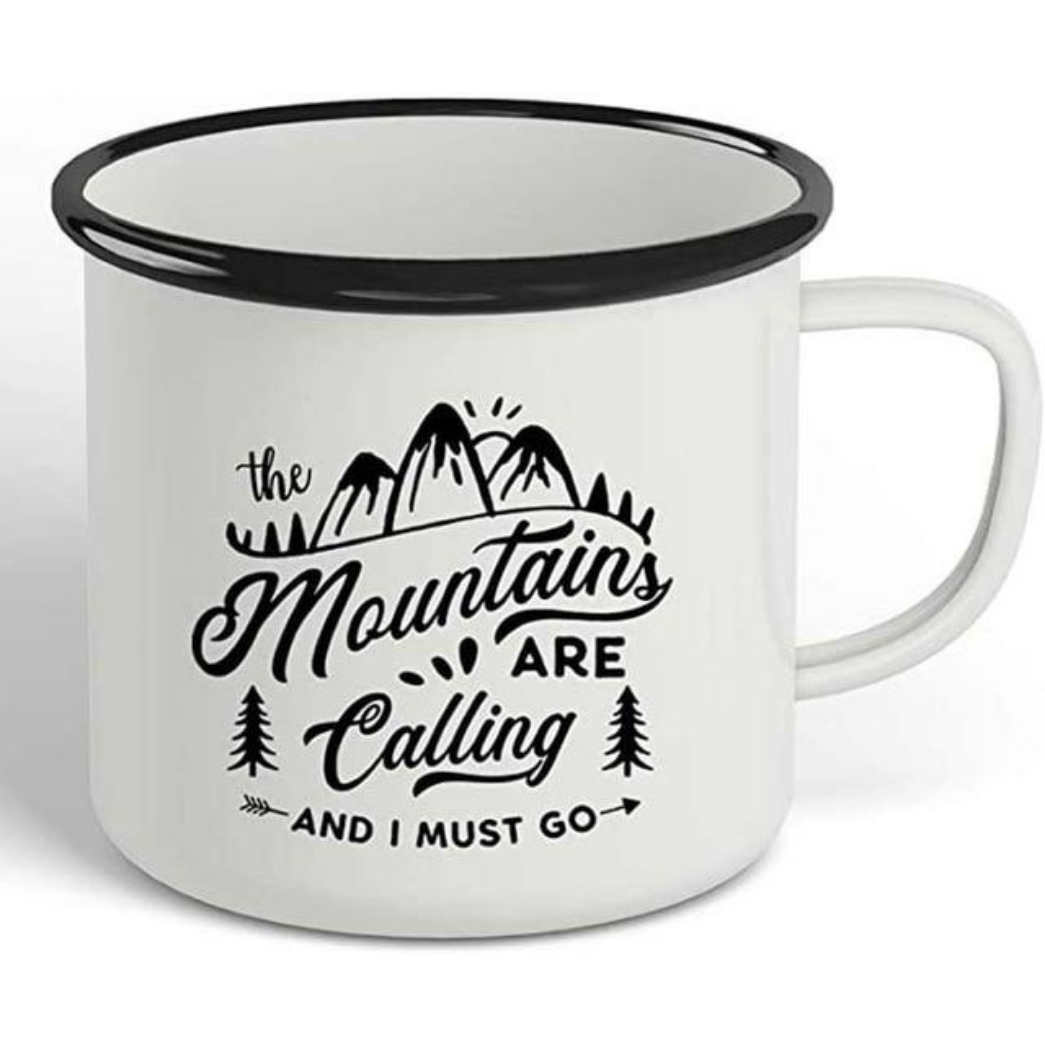 The Mountains Are Calling Enamel Camping Mug