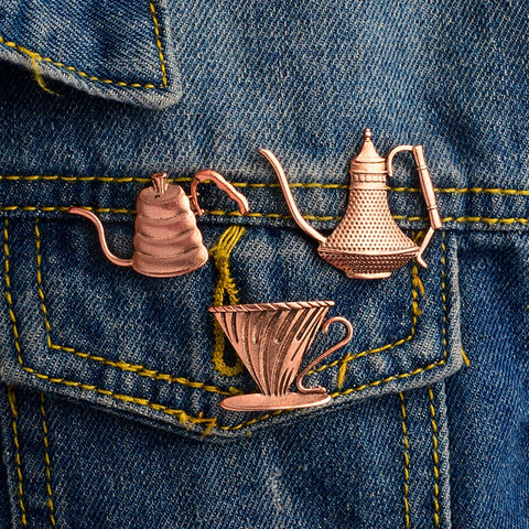 Vintage Coffee Pots Brooch Pins