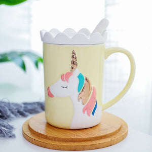 Crown Unicorn Mug With Spoon and Lace Lid