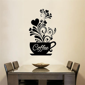 Flowering Vines Coffee Cup Wall Sticker