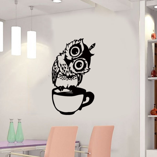 Owl In The Cup Coffee Wall Stickers