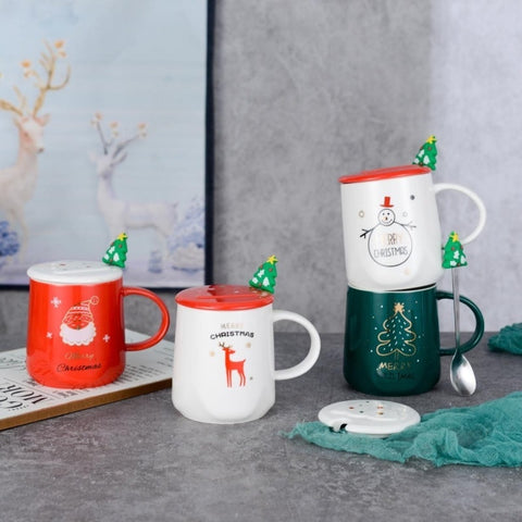 Christmas Coffee Mug With Lid Spoon