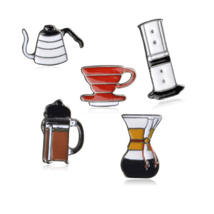 Coffee Brewing Equipment Brooch Pins
