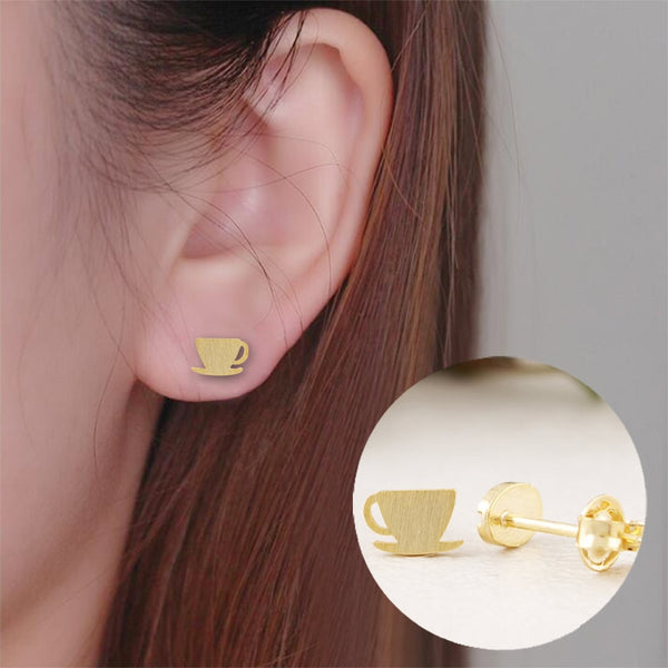 Coffee Cup Bean Earrings - Gold