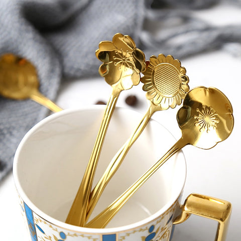Vintage Flower Gold Stainless Steel Coffee Spoon