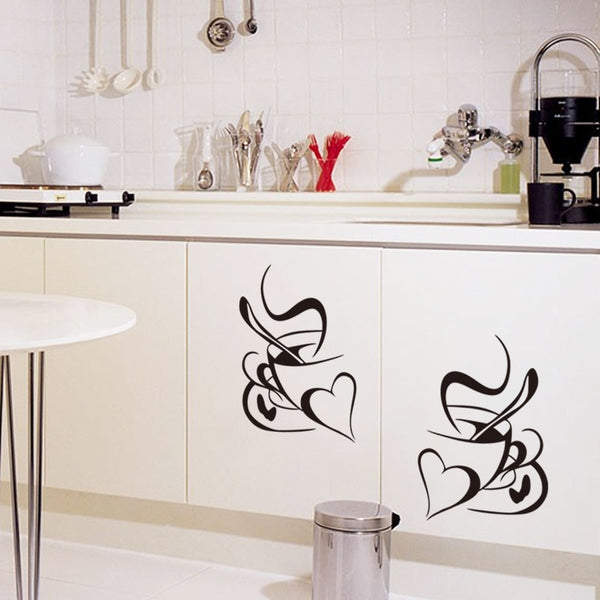 Double Love Coffee Cups Wall Sticker