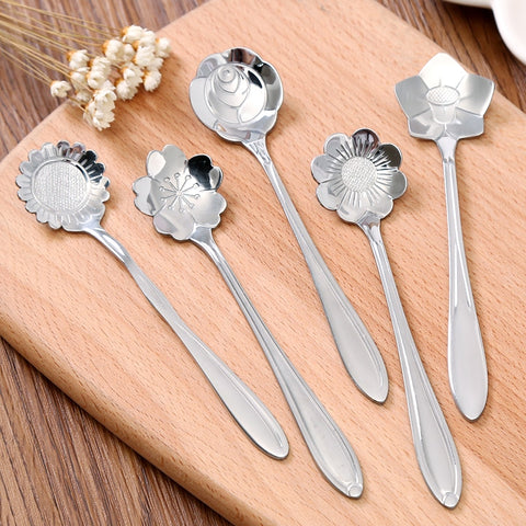 Vintage Flower Silver Stainless Steel Coffee Spoon