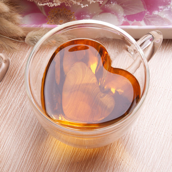 Heart Shape Double Wall Glass Coffee Cup