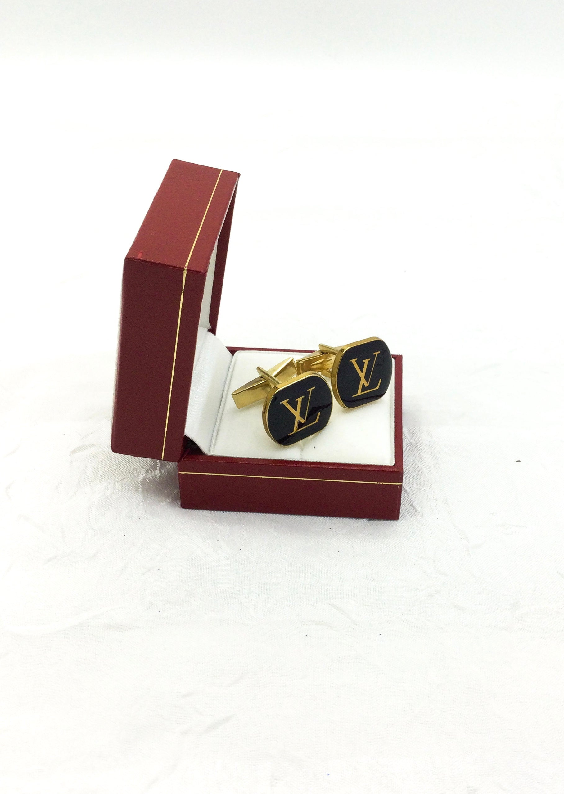 Gold and Black Designer Button Cuff Links