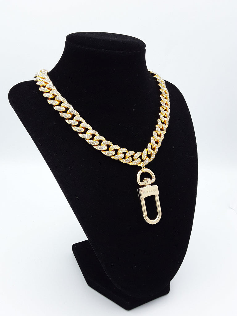 Iced Choker with Designer Bag Charm