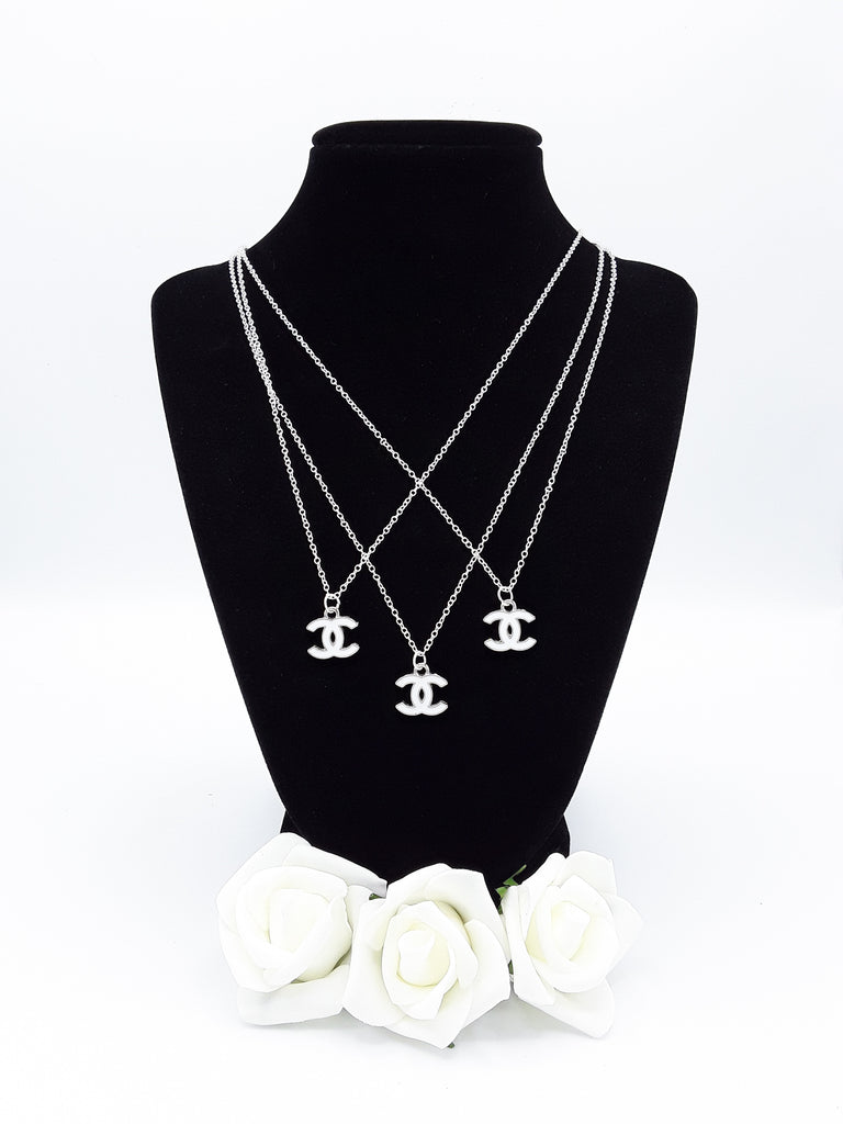 White & Silver Designer Charm Necklace - Petite