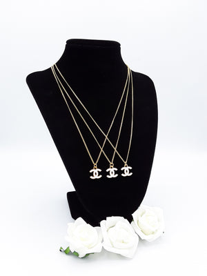 White & Gold Designer Charm Necklace - Petite