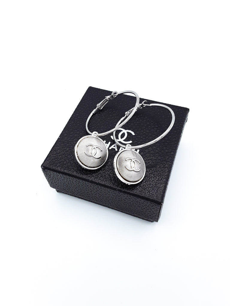 Silver Designer Button Hoop Earrings