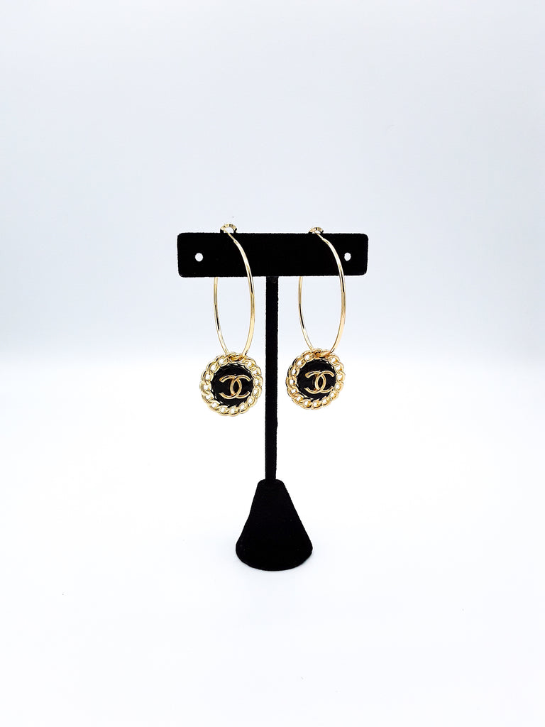 Glamorous Designer Button Hoop Earrings