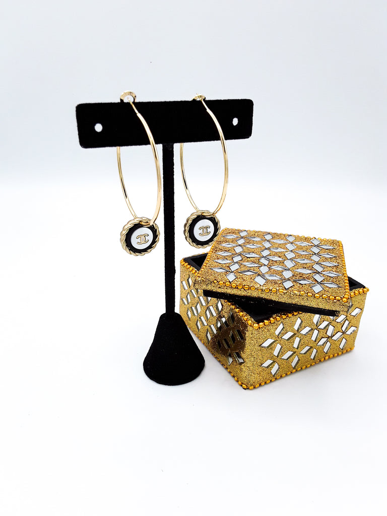 Designer Button Hoop Earrings