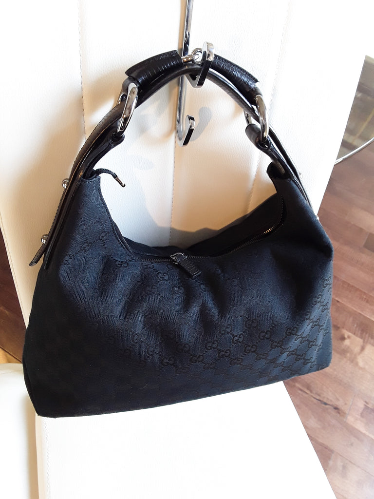 Gucci Monogram Canvas/Leather Medium Horsebit Hobo Bag – Gorgeous