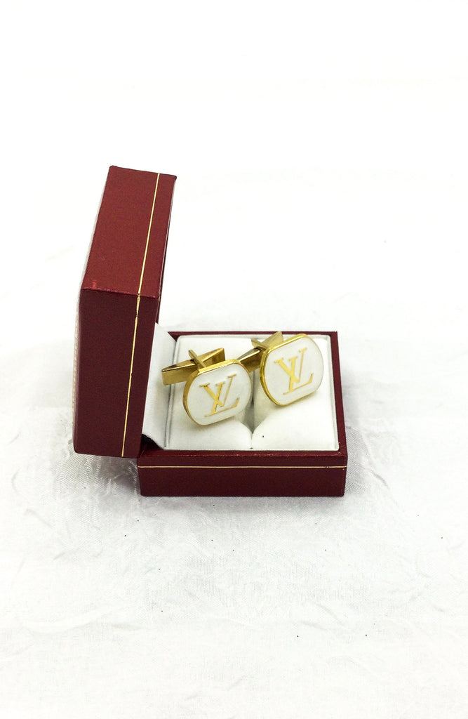 Gold and White Designer Button Cuff Links