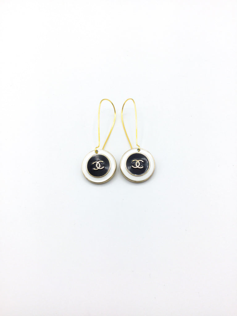 Designer Button Black and White Dangle Earrings
