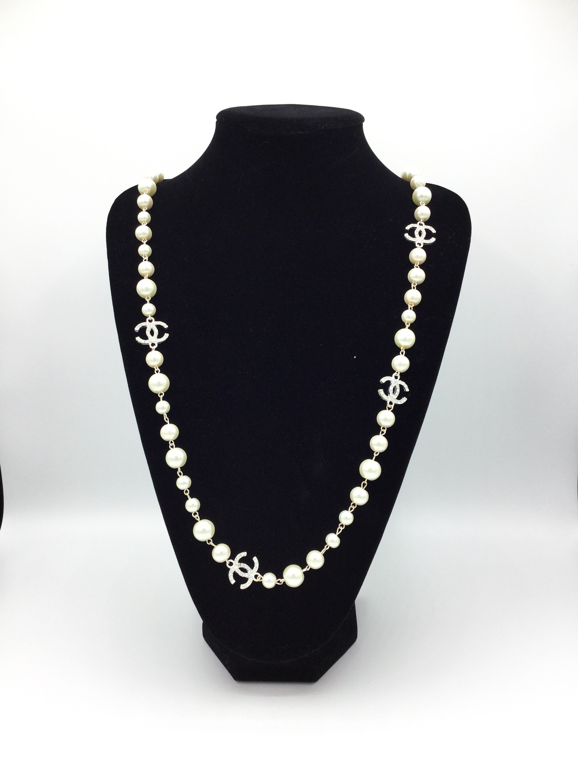 Faux-Pearl Designer Charm Rhinestone Necklace