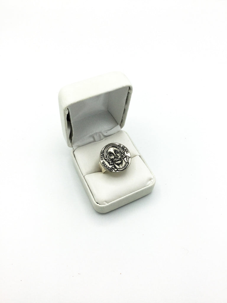 Designer Silver RARE Button Ring, statement ring