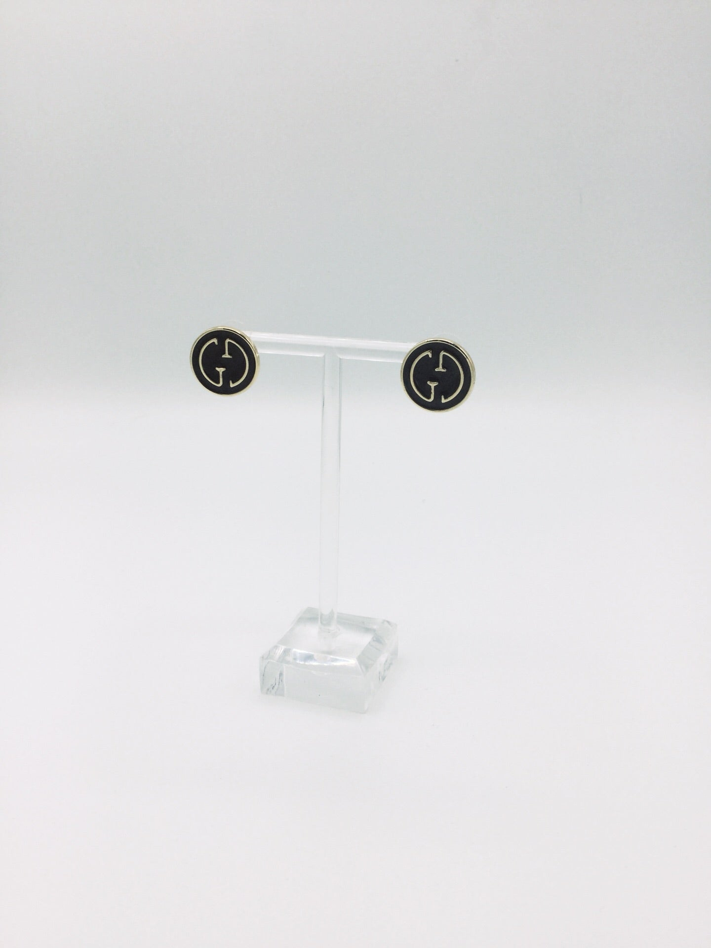 Designer Button Stud Black and Gold Earrings