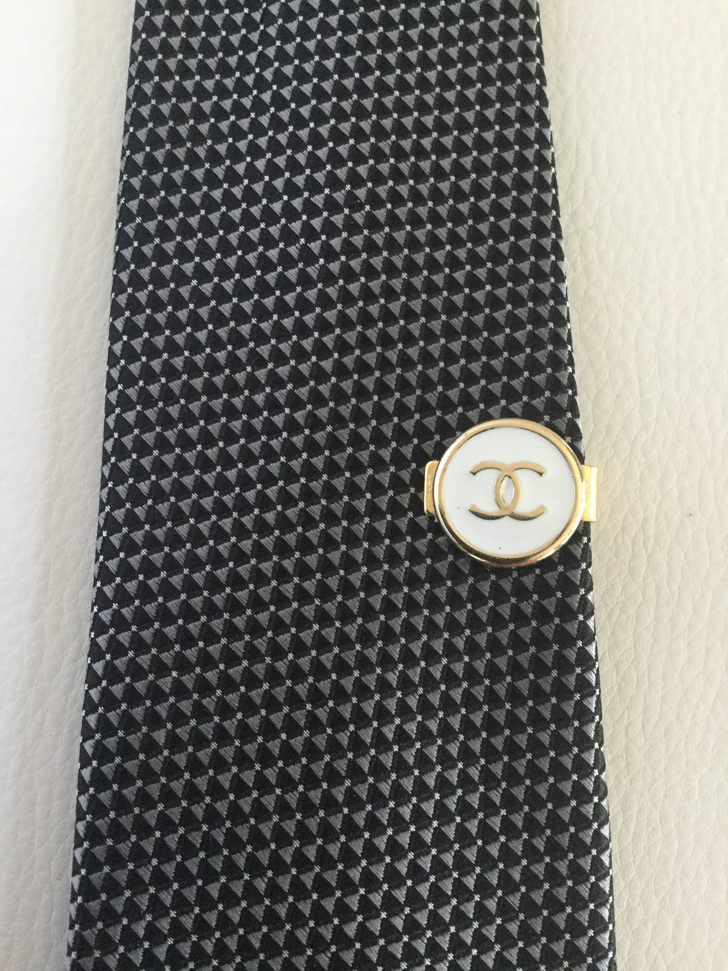 Chanel White and Gold Tie Clip, men's jewelry