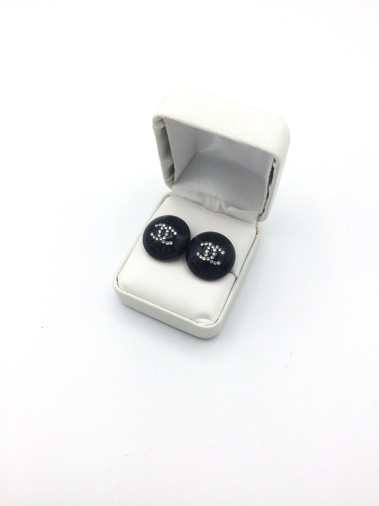 Designer Button Stud Black Rhinestone Earrings