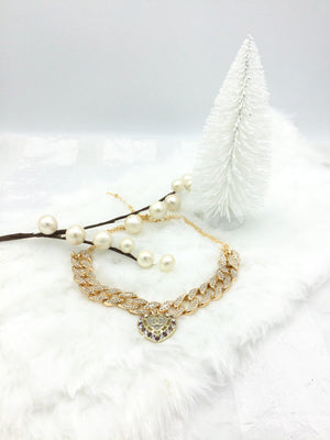 Iced Choker with Heart-Shaped Designer Button