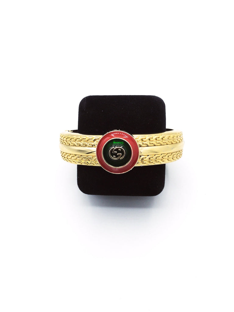 Signature Red And Green Button Cuff Bracelet by Designer Therapy