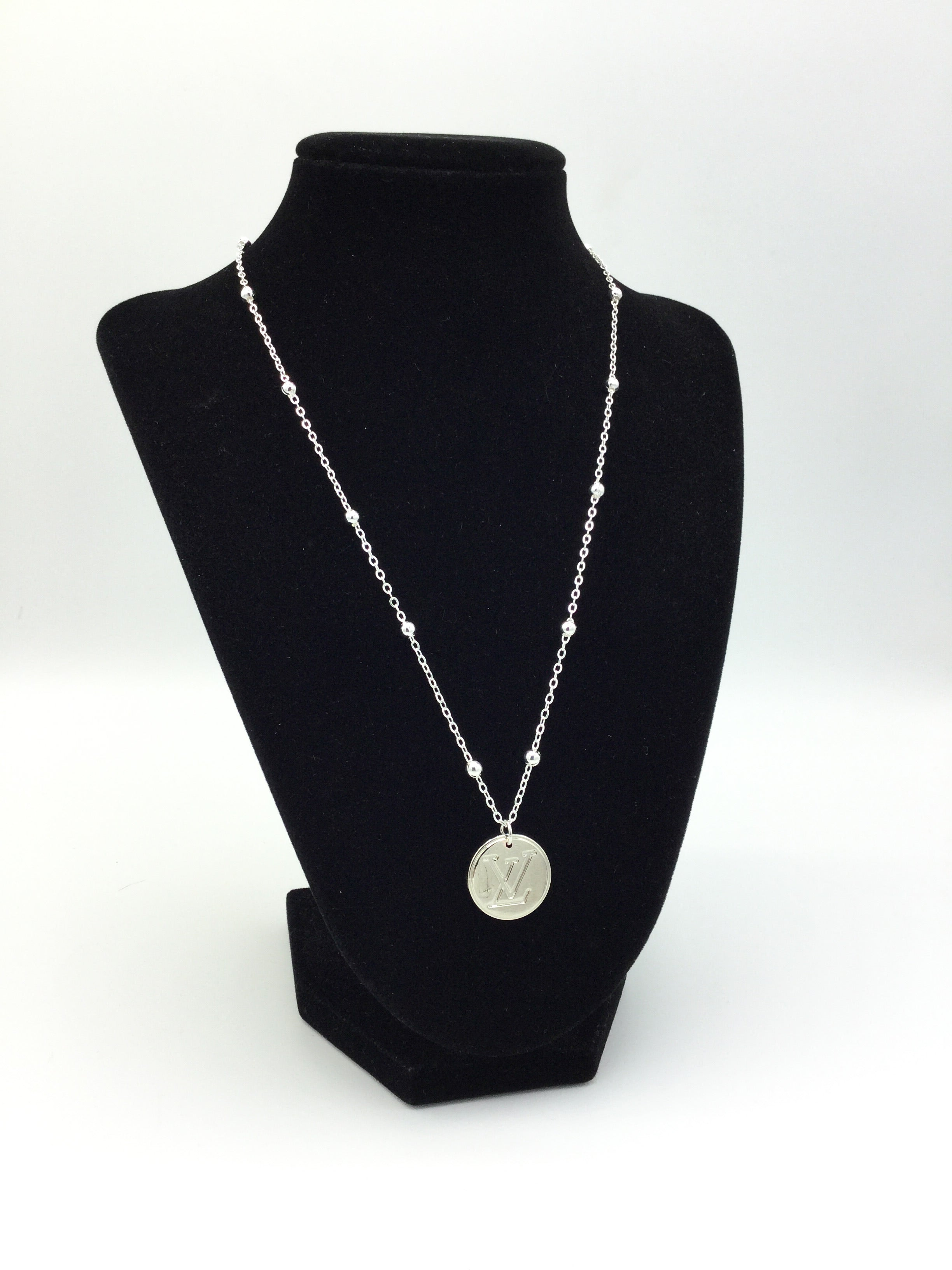 Silver Button Necklace with Fancy Chain by Designer Therapy