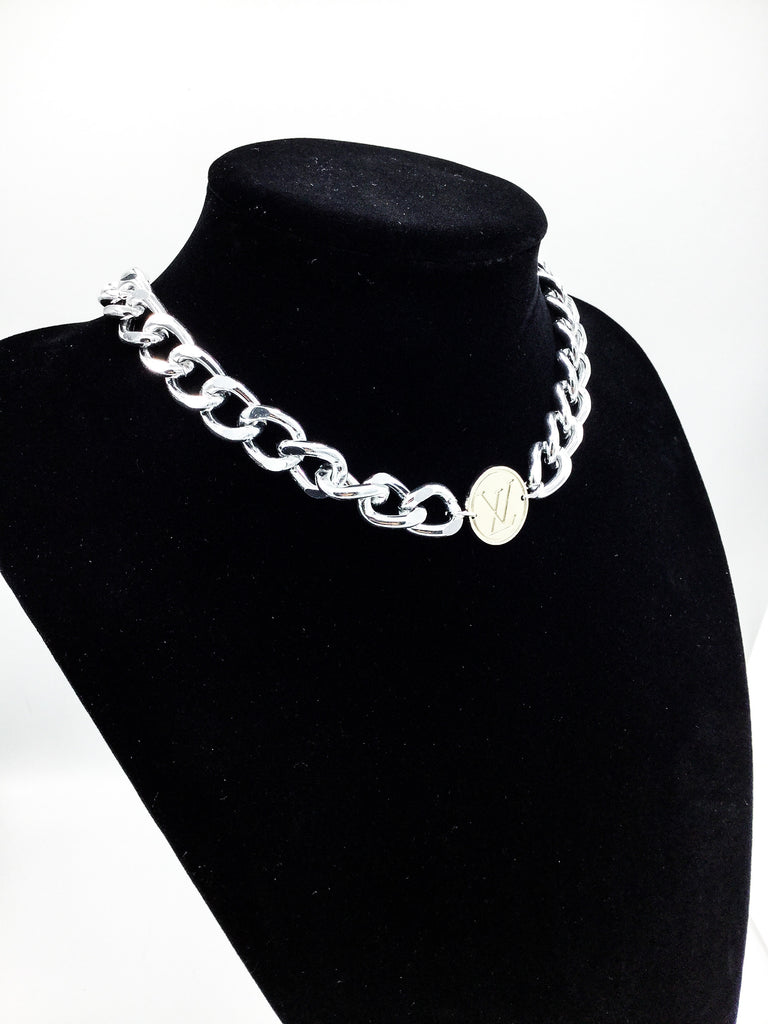 Silver Choker Designer Button Necklace