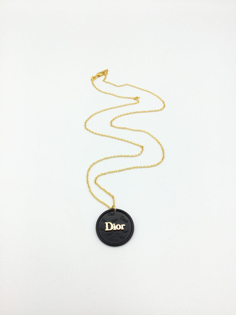 Dior Black and Gold Button Necklace