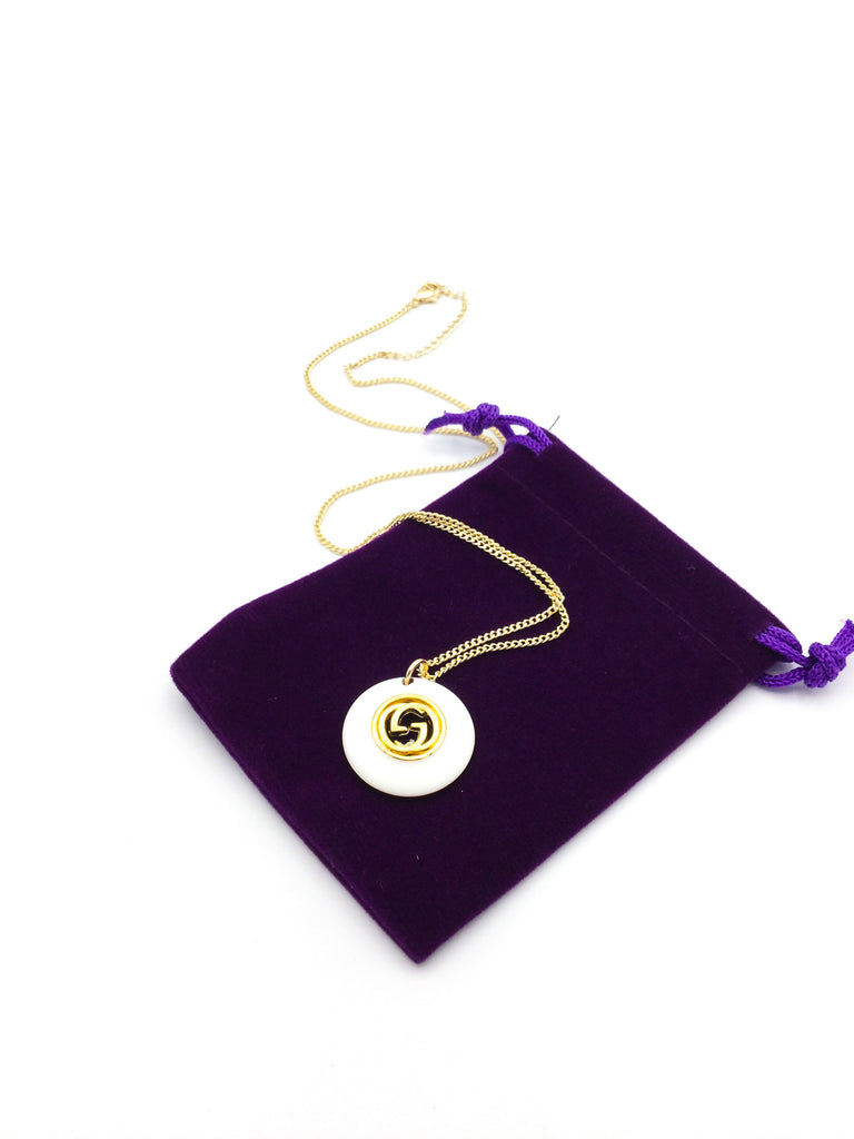 Gucci White and Gold Button Necklace by Designer Therapy