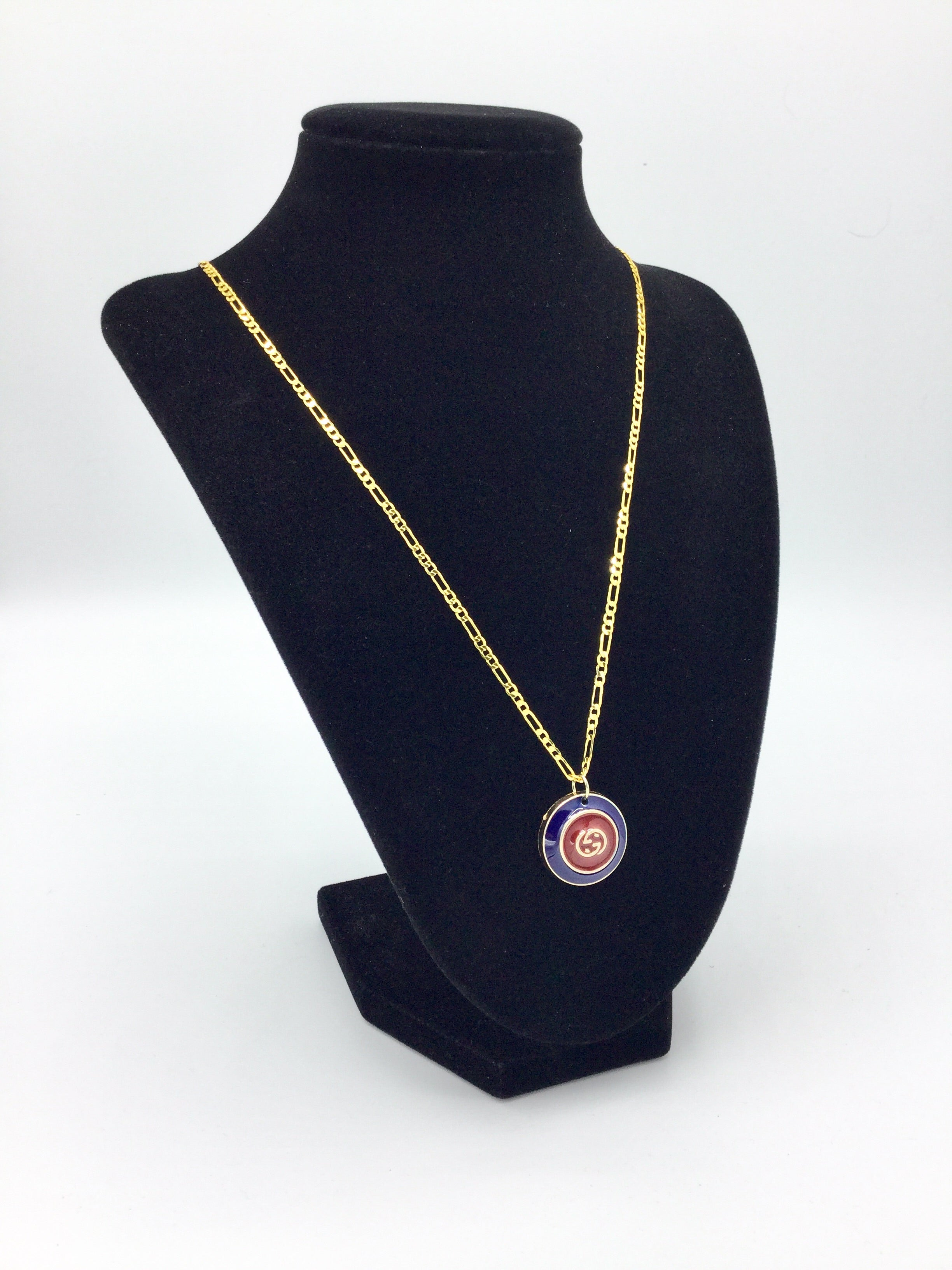 Red & Blue Button Necklace by Designer Therapy