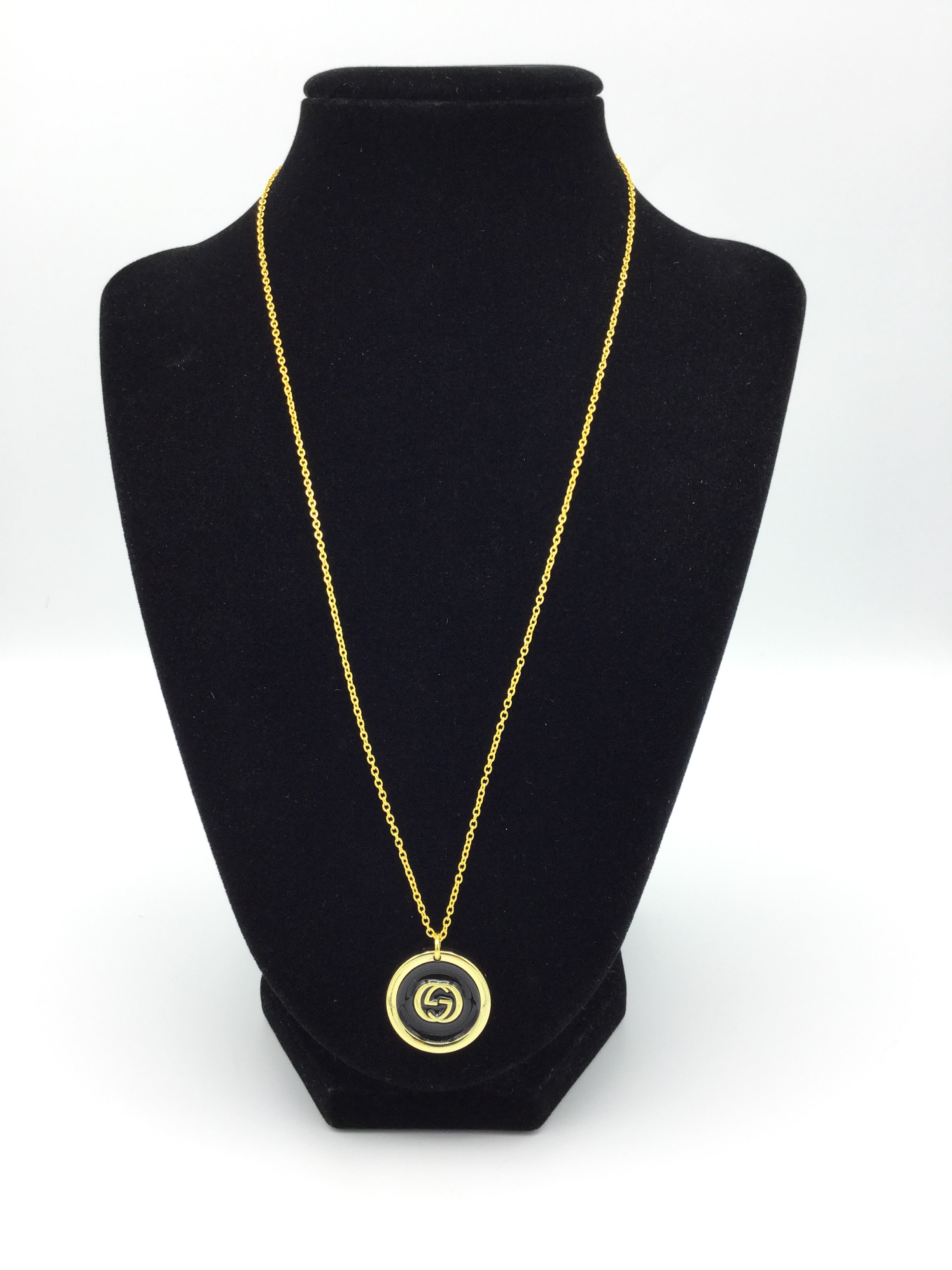 Black and Gold Designer Button Necklace