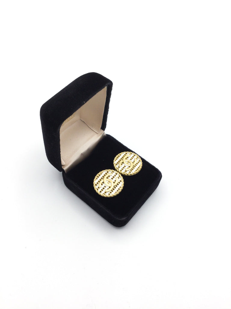 Striped Gold and White Designer Button Stud Earrings