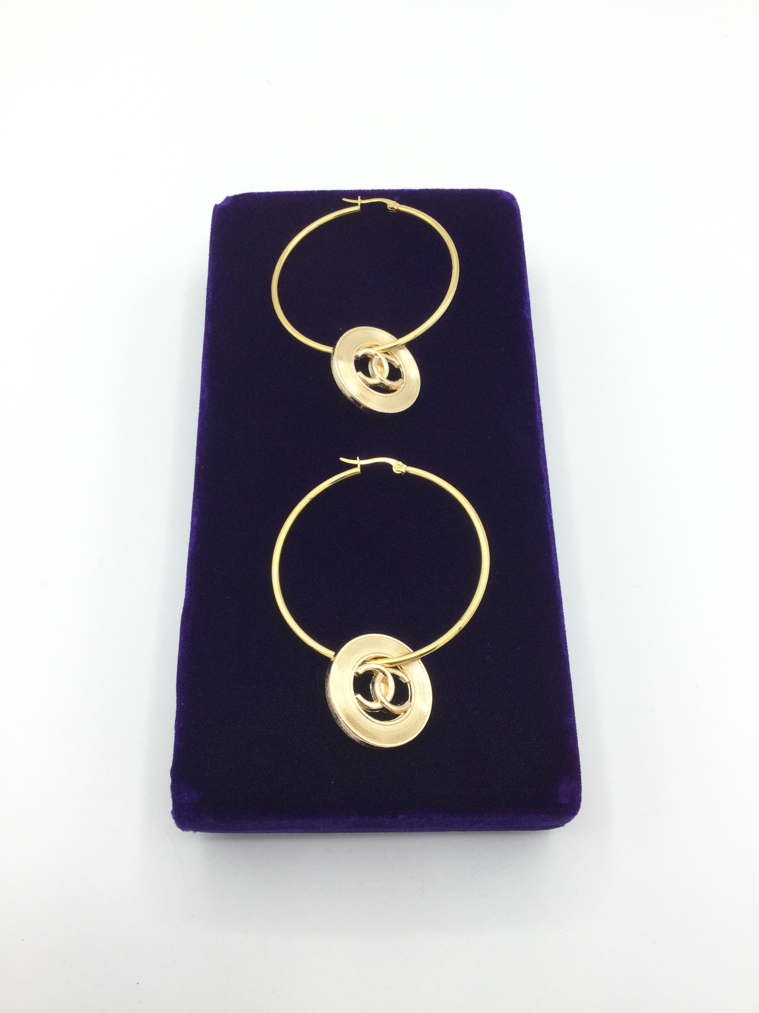 Large Gold Designer Button Hoop Earrings