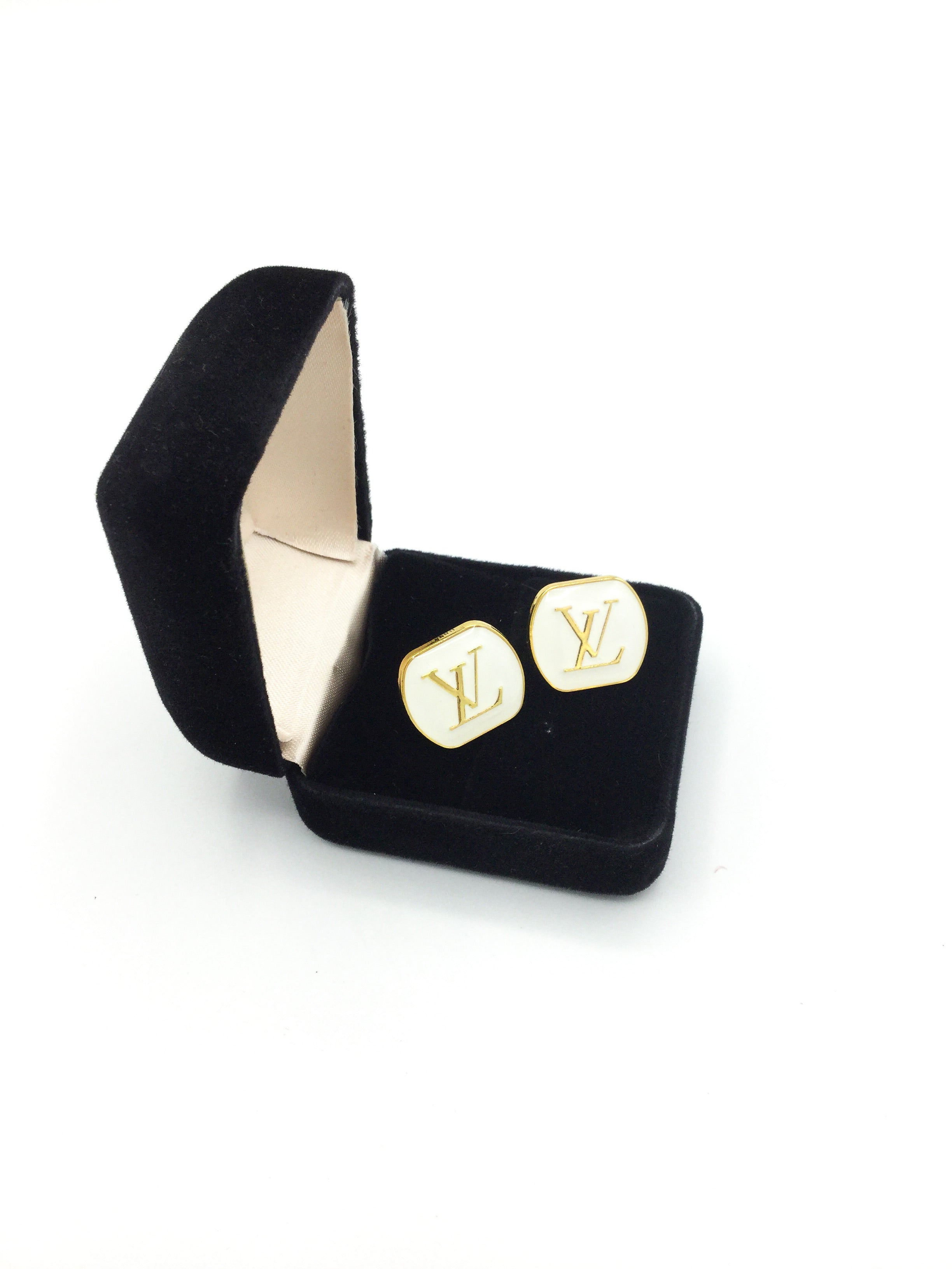 Gold and White Designer Button Earrings