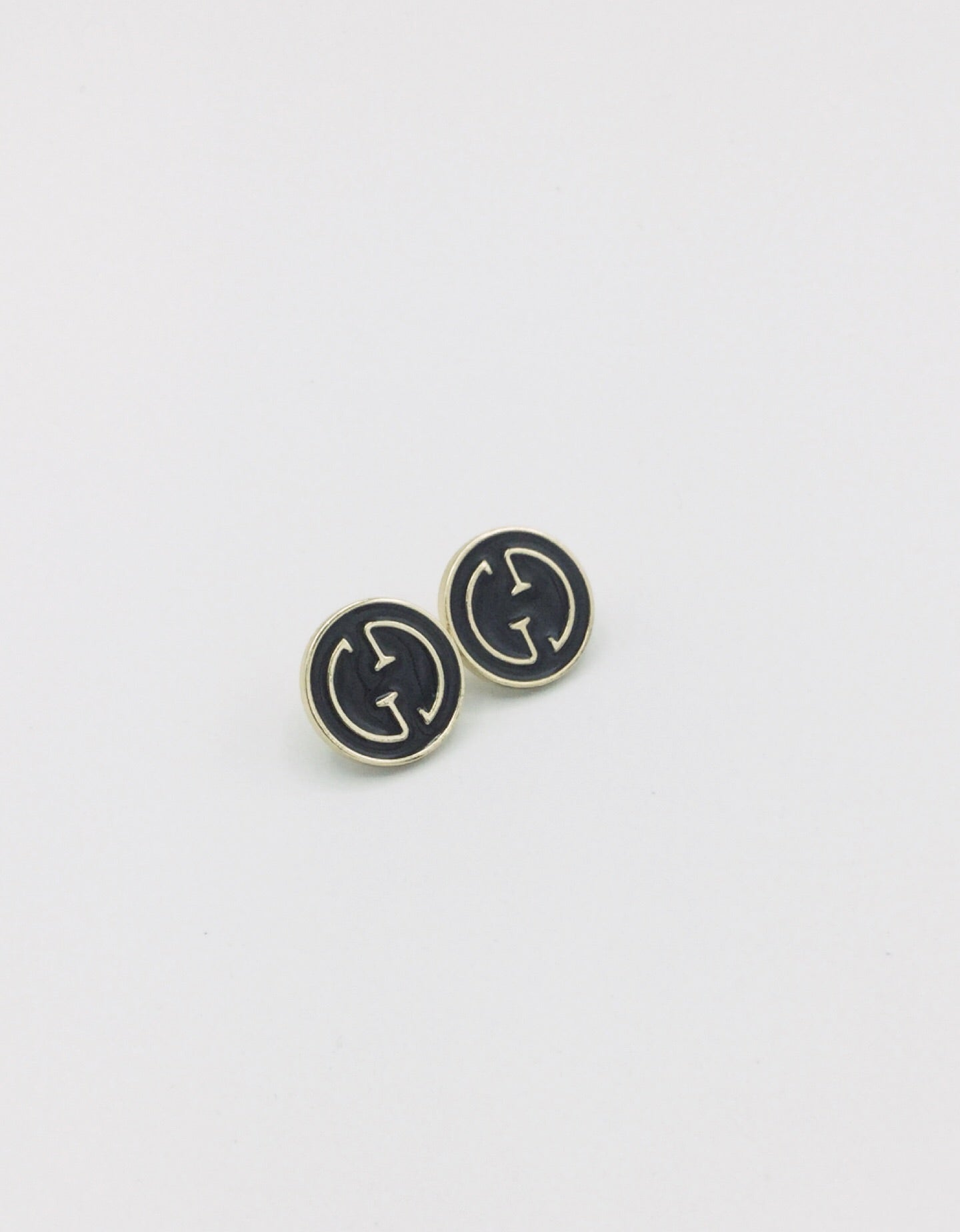 Gucci Button Stud Black and Gold Earrings